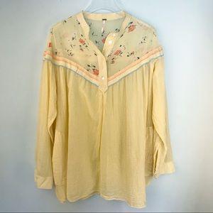 Free People Yellow Cotton Tunic Long Sleeve Medium